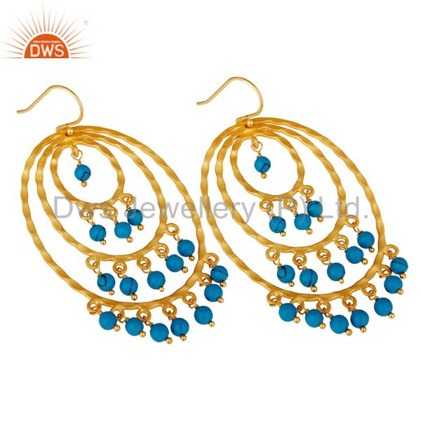 Suppliers 22K Yellow Gold Plated Sterling Silver Turquoise Hammered Chandelier Earrings