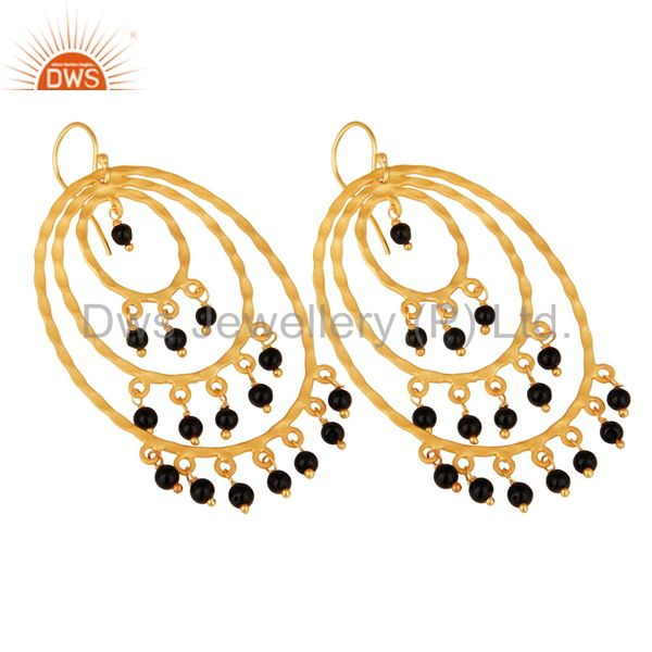 Suppliers 22K Yellow Gold Plated Sterling Silver Black Onyx Hammered Chandelier Earrings