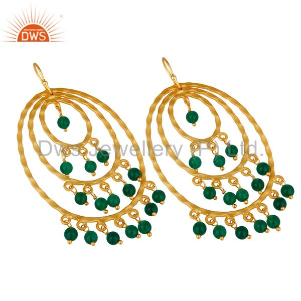 Suppliers 22K Yellow Gold Plated Sterling Silver Green Onyx Hammered Chandelier Earrings