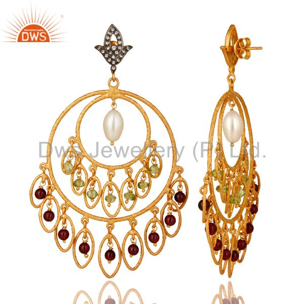 Suppliers 22K Gold Plated Sterling Silver Garnet, Peridot And Pearl Chandelier Earrings