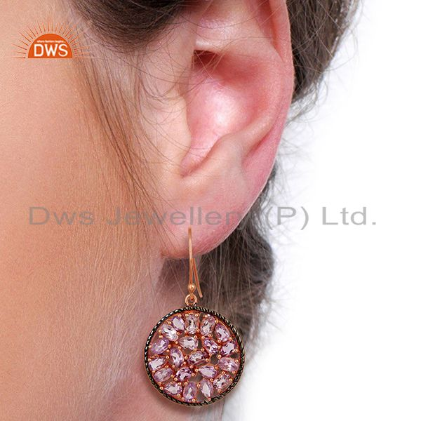 Suppliers Natural Amethyst Gemstone Pave Set Diamond Silver Earrings Jewelry