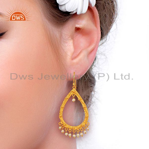 Suppliers Natural Pearl Gemstone Gold Plated Silver Womens Wedding Earrings