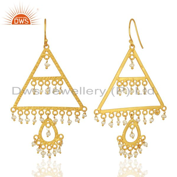 Suppliers Wholesale Natural Pearl Gemstone Gold Plated Silver Designer Earrings