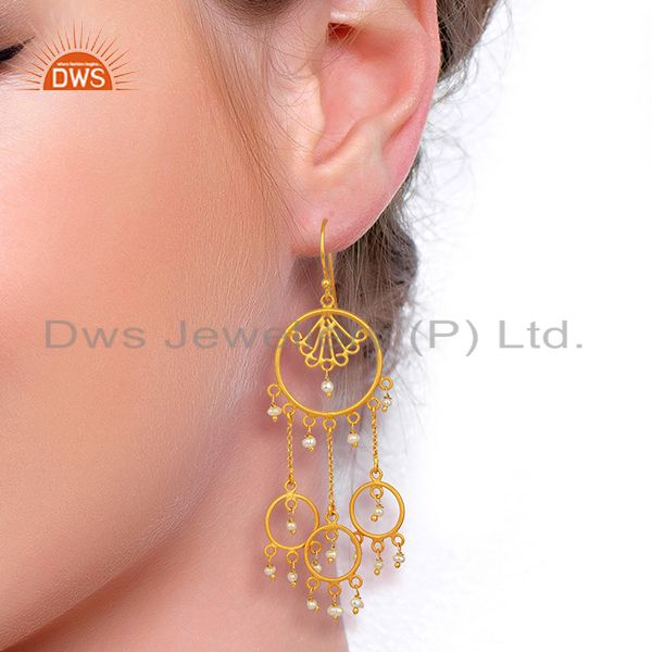 Suppliers Pearl Circles 925 Sterling Silver 18K Gold Plated Chandelier Long Earrings