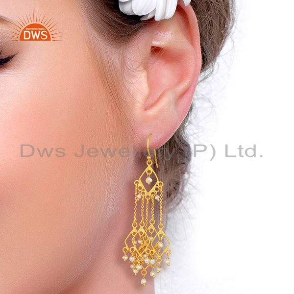 Suppliers Designer Gold Plated Natural Pearl Gemstone Earrings Jewelry Wholesale