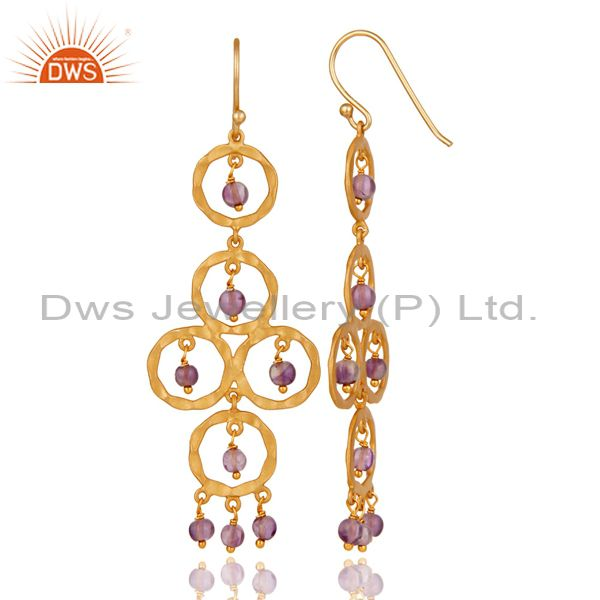 Suppliers Amethyst Beaded 18K Gold Plated Sterling Silver Dangler Earring