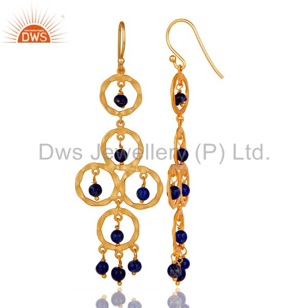 Suppliers Lapiz Lazuli Beaded 18K Gold Plated Sterling Silver Dangler Earring