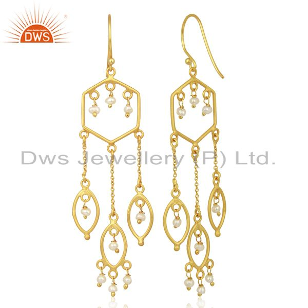 Suppliers Pearl Beads Dangle 14K Yellow Gold Plated 925 Sterling Silver Earrings Jewelry