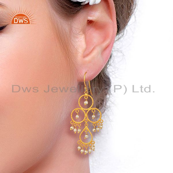Suppliers Pearl Beads Drop Dangle 18K Gold Plated 925 Sterling Silver Earrings Jewelry
