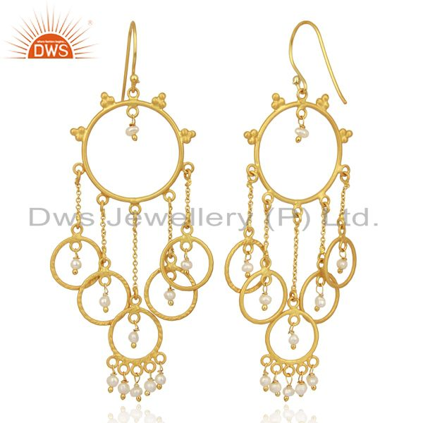 Suppliers Pearl Beads Chandelier 18K Yellow Gold Plated 925 Sterling Silver Earrings