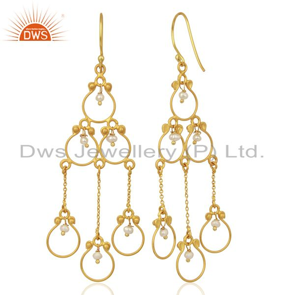 Suppliers Pearl Beads 18K Yellow Gold Plated 925 Sterling Silver Earriings Jewelry