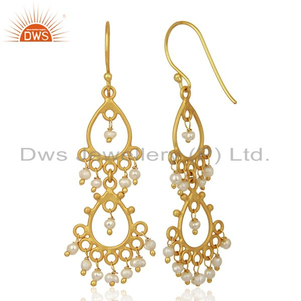 Suppliers Pearl Beads 18K Yellow Gold Plated Sterling Silver Earrings Jewelry