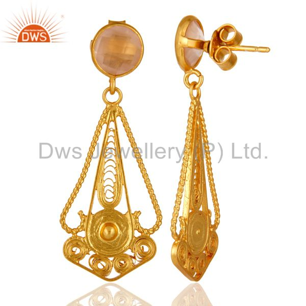 Suppliers 22K Gold Plated 925 Sterling Silver Rose Quartz Gemstone Designer Earring