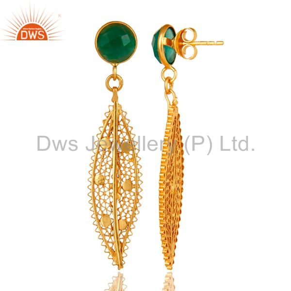 Suppliers 18K Yellow Gold Plated Sterling Silver Green Onyx Filigree Design Dangle Earring