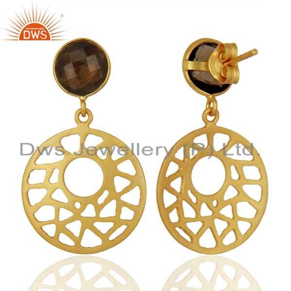 Suppliers 18K Gold Plated Sterling Silver Smoky Quartz Filigree Dangle Earrings