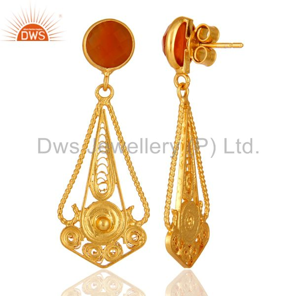 Suppliers Handcarfted 18k Gold Plated 925 Sterling Silver Red Onyx Earring Jewelry
