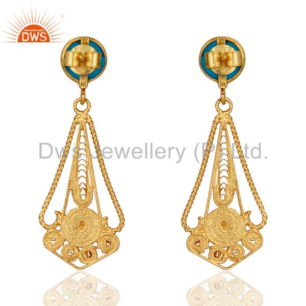 Suppliers Classic Lace Designer 24K Gold Plated 925 Sterling Silver Turquoise Earrings