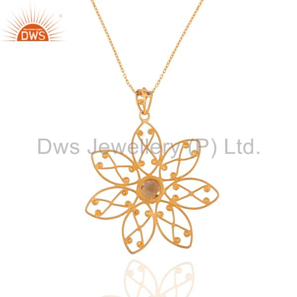 Suppliers Handmade Flower Design Citrine Gemstone 24k Gold Over Sterling SIlver Pendant 30