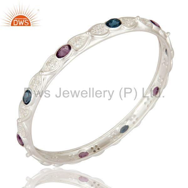 Wholesalers of Designer amethyst london topaz blue 925 silver bangle white topaz