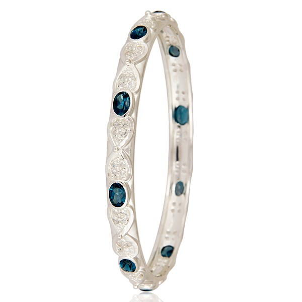 Wholesalers of London blue topaz gemstone sterling silver bangle with white topaz