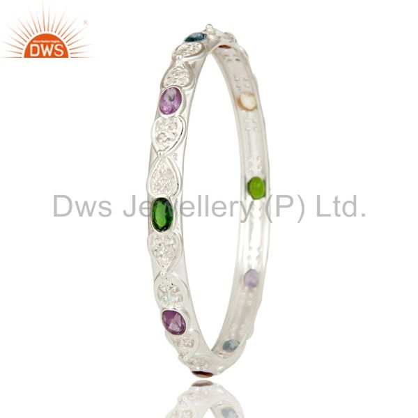 Wholesalers of Chrome diopsite amethyst multi stone colorful 925 silver bangle