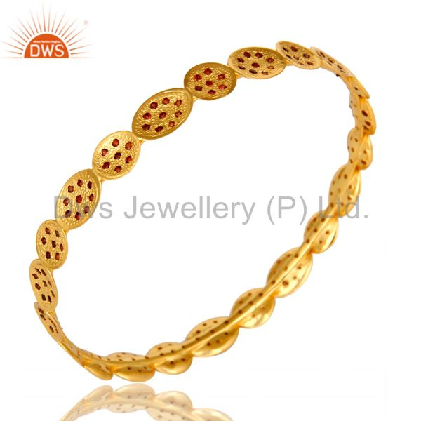 Wholesalers of 22k yellow gold plated garnet gemstone designer gemstone bangles