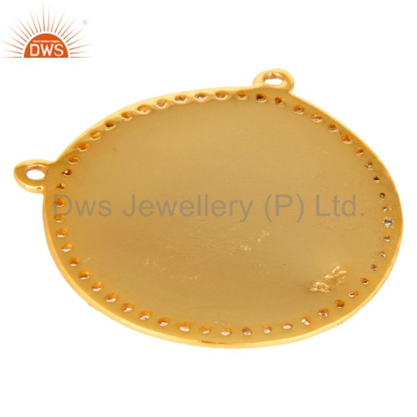 Suppliers 18K Yellow Gold Plated Sterling Silver White Topaz Evil Eye Connector Necklace