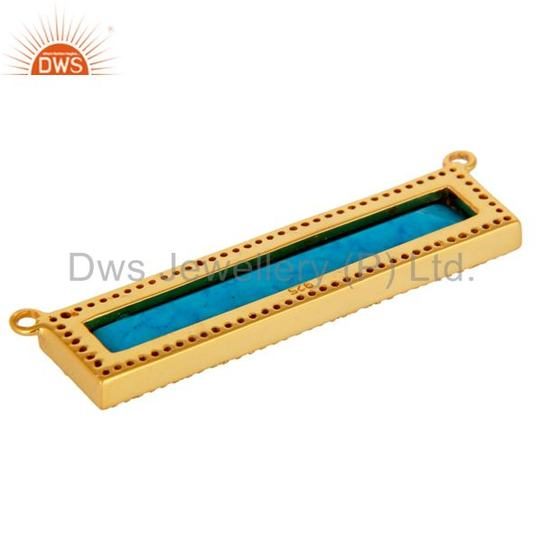 Suppliers Turquoise White Topaz Connector 14K Gold Plated 925 Silver Jewelry Findings