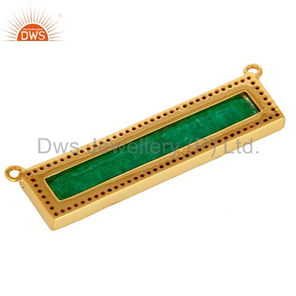 Suppliers Green Aventurine White Topaz Connector Gold Plated 925 Silver Jewelry Findings