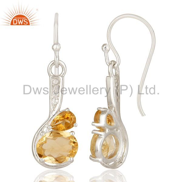 Suppliers 925 Sterling Silver Citrine Gemstone Designer Earrings With White Topaz