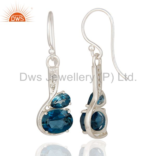 Suppliers 5.71 Ct Natural London Blue Topaz Solid 925 Sterling Silver Gemstone Earrings