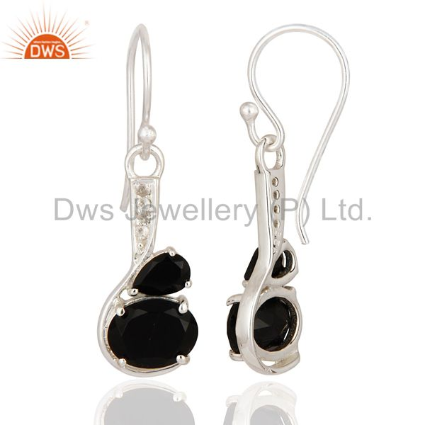 Suppliers 925 Sterling Silver Natural Black Onyx Gemstone Dangle Earrings With White Topaz