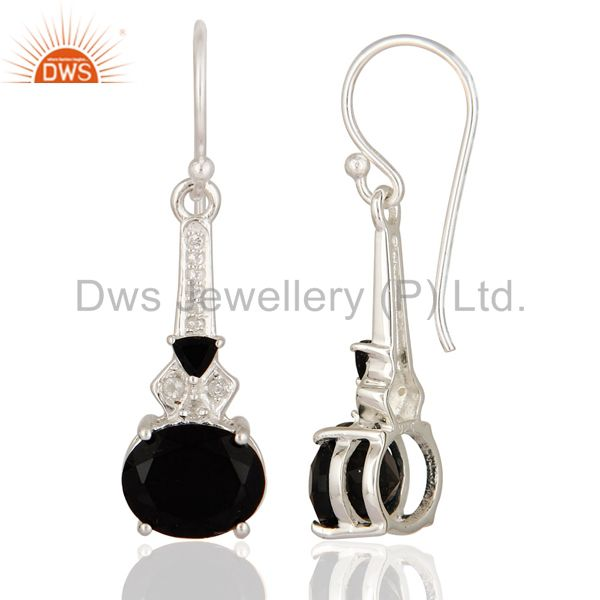Suppliers Designer Black Onyx & White Topaz Genuine 925 Sterling Silver Dangle Earrings