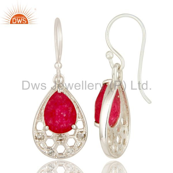 Suppliers 925 Sterling Silver Red Aventurine And White Topaz Dangle Earrings For Womens