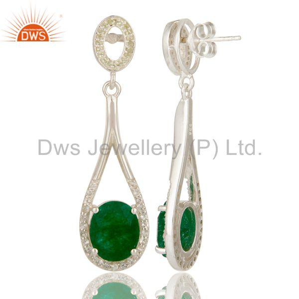 Suppliers 925 Sterling Silver Green Aventurine And White Topaz Dangle Earrings For Womens