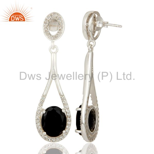 Suppliers 925 Sterling Silver Black Onyx And White Topaz Dangle Earrings For Womens