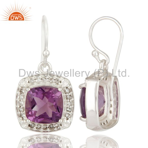 Suppliers Natural Amethyst & White Topaz Gemstone Solitaire Sterling Silver Dangle Earring