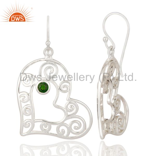 Suppliers Natural Green Chrome Diopside 925 Sterling Silver Heart Design Dangle Earrings