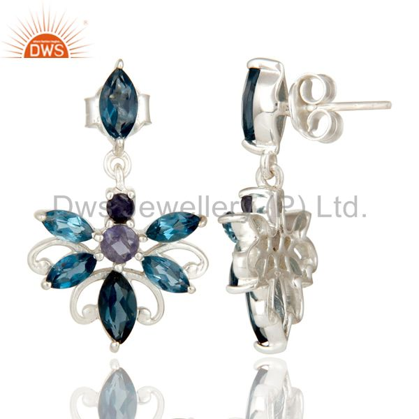 Suppliers 925 Sterling Silver London Blue Topaz and Iolite Gemstone Dangle Stud Earrings