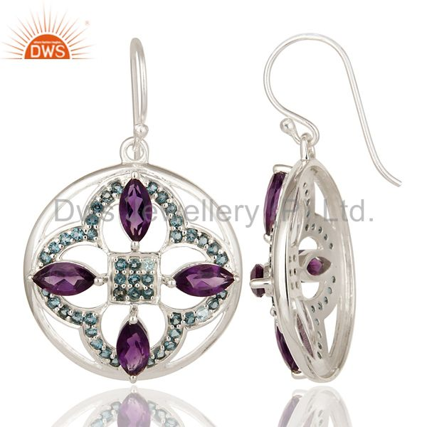 Suppliers 925 Sterling Silver Amethyst And Blue Topaz Flower Cluster Dangle Earrings