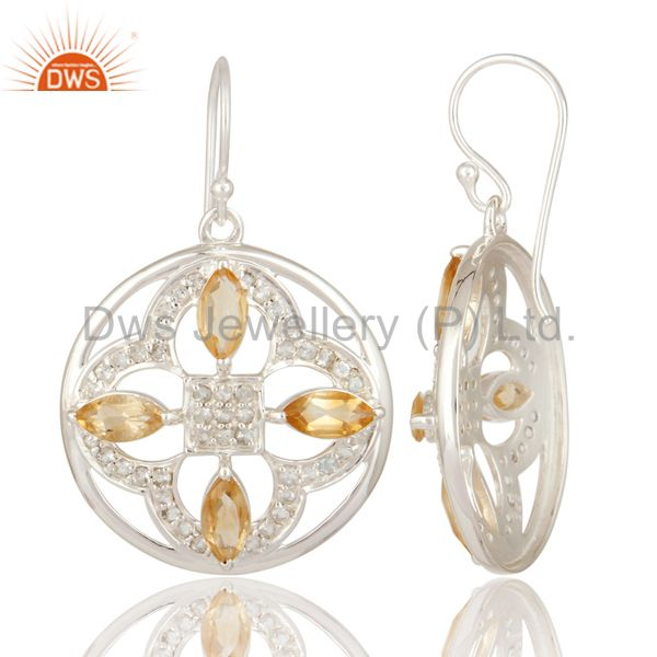 Suppliers Natural Citrine Marquise Cut Gemstone Sterling Silver White Topaz Earrings