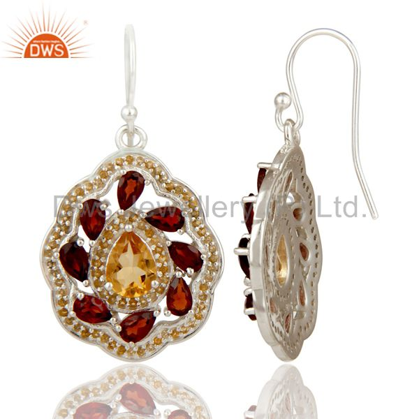 Suppliers Natural Citrine and Garnet Gemstone Sterling Silver Drop Earring Fine Jewelry