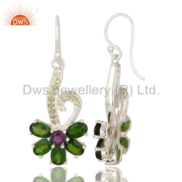 Suppliers Natural Chrome Diopside, Peridot And Amethyst Sterling Silver Dangle Earrings