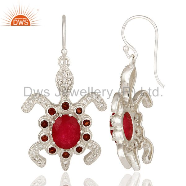 Suppliers 925 Sterling Silver Red Aventurine And Garnet Turtle Dangle Earrings With White