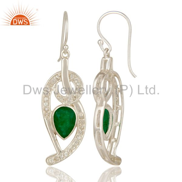 Suppliers Green Aventurine And White Topaz Sterling Silver Designer Earrings
