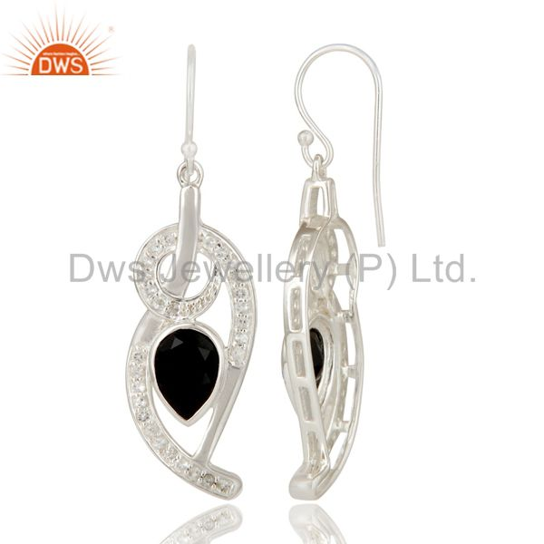 Suppliers Black Onyx And White Topaz Sterling Silver Designer Earrings