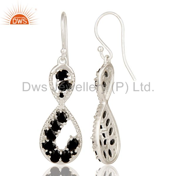 Suppliers 925 Sterling Silver Black Onyx Gemstone Designer Infinity Dangle Earrings