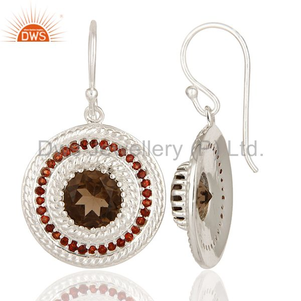 Suppliers 925 Sterling Silver Garnet And Smoky Quartz Gemstone Disc Dangle Earrings