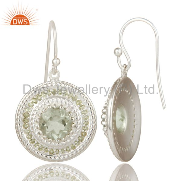 Suppliers 925 Sterling Silver Green Amethyst and Peridot Gemstone Disc Dangle Earrings