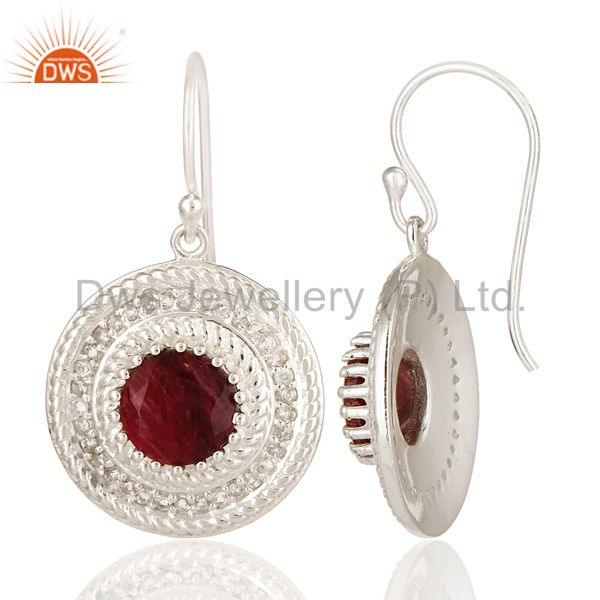 Suppliers Red Corundum And White Topaz Sterling Silver Circle Design Dangle Earrings